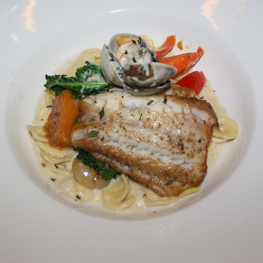 Pan Seared Sablefish with orrechiette in a Tarragon cream sauce