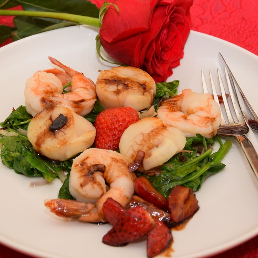 Seared Scallops & Prawns with Balsamic Strawberries