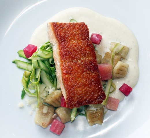 Pan Roasted Spring Salmon, roasted garlic emulsion, marinated asparagus & gnocchi